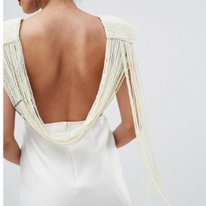 ASOS deep plunge pearl back maxi